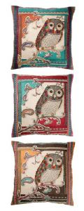Cushion Cover~ Hippy Bohemian Indian Embroidered Cotton Owl Cushion Cover~ By Folio Gothic Hippy CC9